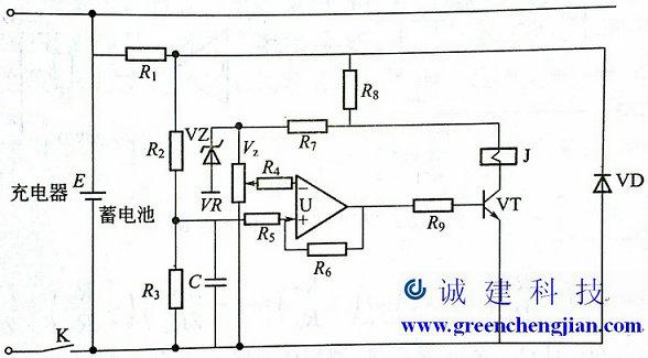 蓄电池过电压保护电路如图1所示,由电压检测电路,比较器和控制电路